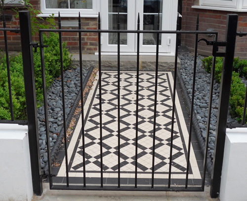 Gates & paths, wrought iron, Victorian tiling